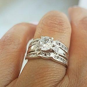 2pcs 925 Silver Engagement ring Wedding Band sz 6